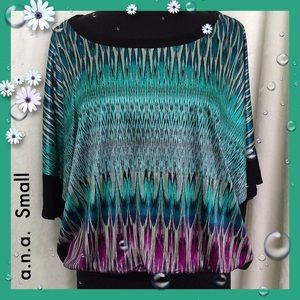 a.n.a. Multicolor Abstract Print Rayon Top NWOT